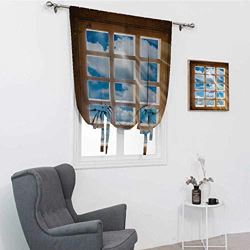 GugeABC Cortinas de baño para decoración de la casa, ventana de madera con vigas de sol desde la vista del cielo y las nubes, cenefa de ventana, persiana de globo de 99 x 162 cm