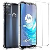 """Coque pour Motorola G50 +Verre Trempé/Film Protection écran 2 Pièces,Coque Transparente Moto G50 6.5"""",Souple TPU Housse Etui-Shock-Absorption Case Cover"""
