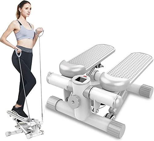 DODOBD Mini Stepper 2 en 1 Cuerdas de Resistencia - Stepper Cardio Fitness Escaladora Stepper para Usuarios Principiantes y Avanzados con Pantalla Multifuncional,Carga -100KG