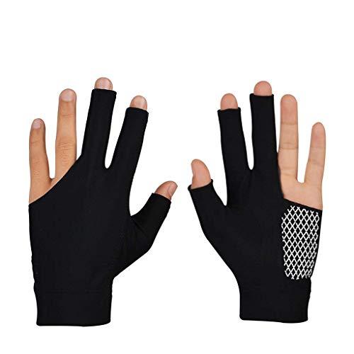Taoke Professionelle Snooker Billard Handschuhe Cue Pool Handschuhe Left Hand öffnen DREI-Finger-Superfaser MaterialGlove 8bayfa (Color : Black, Size : L)