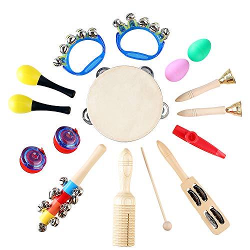 MVPower 15 Stück Musikinstrumente Set - Rhythm Percussion Musik Holzinstrumente Set Schlagzeug Schlagwerk Rhythmus Band Werkzeuge mit Tragetasche(Rhythm Set)