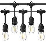 Catena di Lampadine AOMEX Catene Luminose LED catenaria 10 metri proungabile con 10 portalampada E27 lampadine non incluse (10M-NERO)