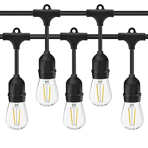 Catena di Lampadine AOMEX Catene Luminose LED catenaria 15 metri proungabile con 15 portalampada E27 lampadine non incluse (15M-NERO)