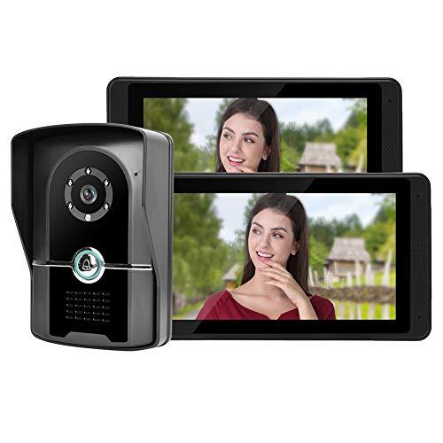 Hakeeta Timbre de Video a Prueba de Agua con Doble Pantalla LCD TFT de 7 Pulgadas.Sistema de intercomunicador de Seguridad de interfono con visión Nocturna por Infrarrojos.(UE)