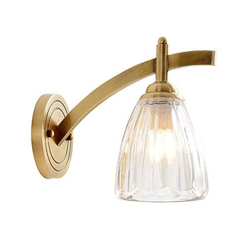 Baska Luz de Pared LED Moderna con Pantalla de Cristal, lámpara de Pared Interior Lámpara de iluminación para Sala de Estar Salón de la habitación Escaleras para el hogar, E27 Socket (1 Luz/Latón)