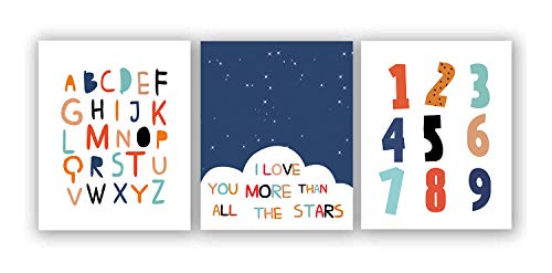 """Watercolor Alphabet Numbers Inspirational Quote Art Painting Set of 3 (8""""X10"""" Canvas Picture), Enlightenment Words Print Black Starry Sky Wall Art Poster for Nursery or Kids Room Home Decor,No Frame"""