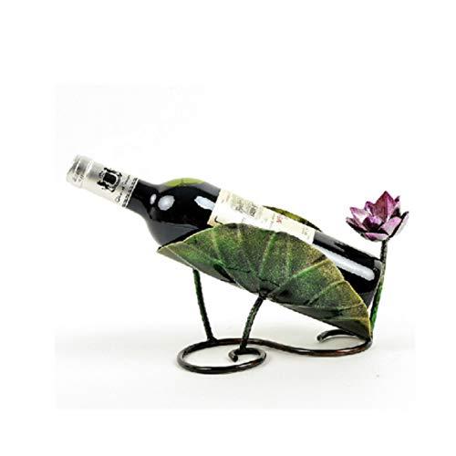 Soportes de vino, estante de metal para botellas de vino, estante para encimera, estante de vino para bar, cocina, restaurante (color: loto)