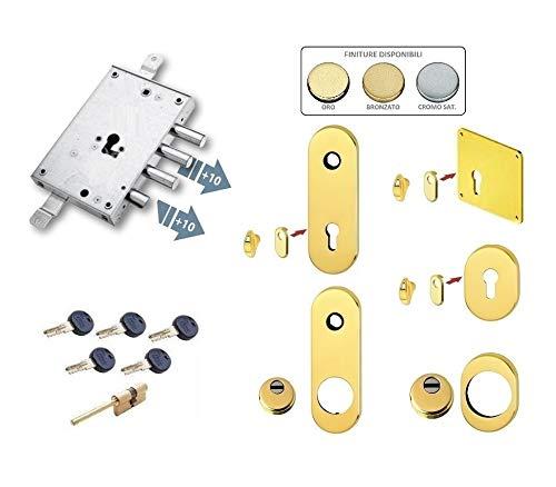 Kit de cerradura completa para puerta blindada de cilindro europeo Kaba Matrix para motura Secremme Allmet (placa larga y Defender largo)