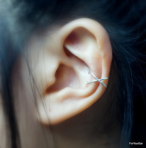 79)No Piercing Criss Cross Ear Cuff - Sterling Silver, Silver Plated