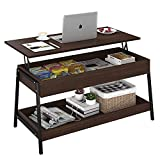 """Lift Top Coffee Table with Storage Shelves and Hidden Compartment for Living Room, Office (Espresso, 41.3"""" 19.7"""" 20"""")"""