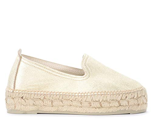 Manebí Espadrillas Los Angeles In Pelle Laminata ORO