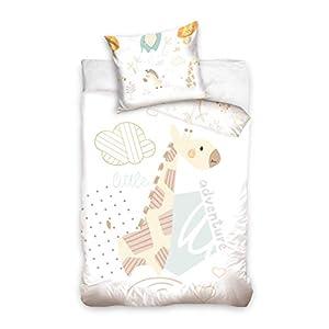 DHestia – Juego de Funda Nórdica 100% Algodón Natural para Cuna de Bebé Jirafa BabyNL191316