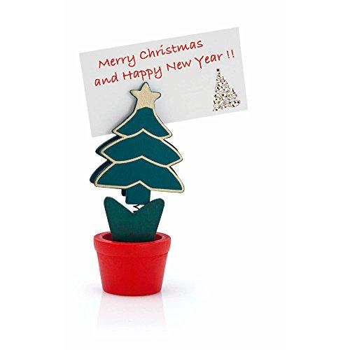 Ebuygb cappello di Babbo Natale/albero/renna/Natale segnaposto impostazione di carta, legno, multicolore, Confezione da 10