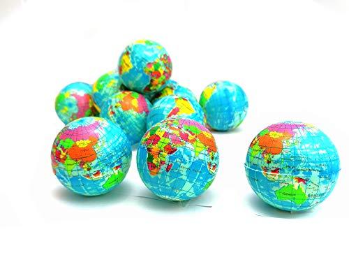 STUWU 12X FERNWEH Ball Globus Weltkarte Weltkugel Squezzer Stressball Antistressball Streßball Knautschball Wutball Knetball Grimassenball 6cm