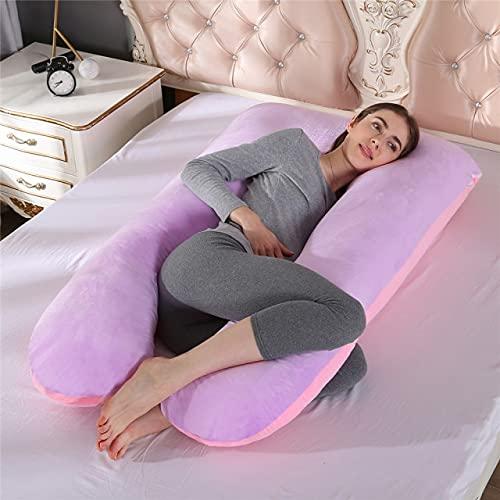 Almohada de Embarazo en Forma de U, Soporte para Dormir, Almohada de Maternidad, para Dormir de Lado, Almohada de Cuerpo Completo para Mujeres Embarazadas, Rosa púrpura, a2