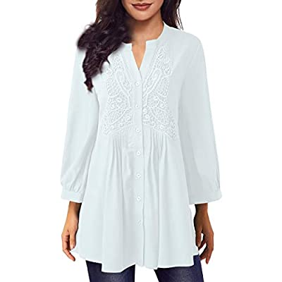 Amazon - Save 50%: Women Long Sleeve Notch Neck Pleated Loose Blouse Tunic Top