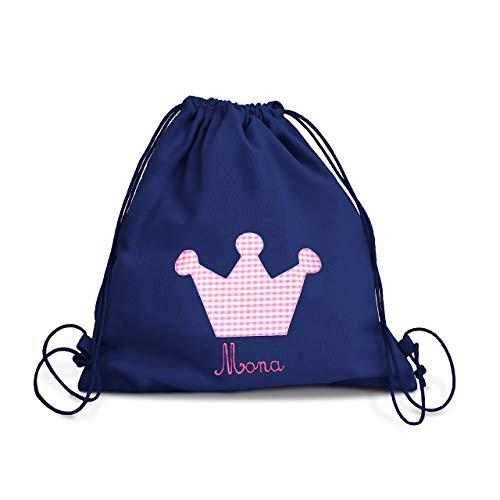 la fraise rouge Turnbeutel Kindergarten Mädchen Krone Prinzessin in blau auch mit Namen aus robustem Baumwollstoff