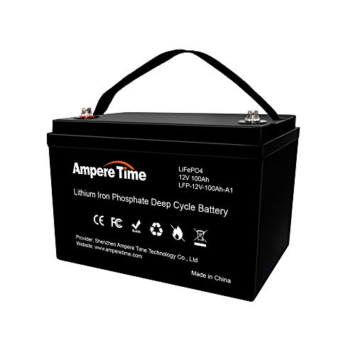 Ampere Time 12V 100Ah 1.28KWh Lithium|LiFePO4| Deep Cycle, Rechargeable Battery, Built-in 100A BMS,280A Max, 4000~8000 Cycles, Perfect for RV/Camping, Solar Home, Off-Grid Applications.