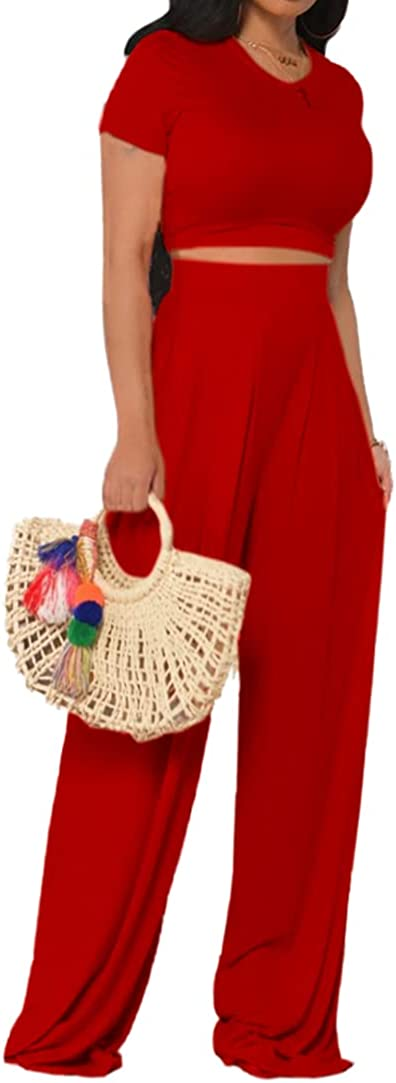 Women Max 88% OFF Two Piece Outfits Casual Short specialty shop Tops Wide + Crop Sleeve Leg