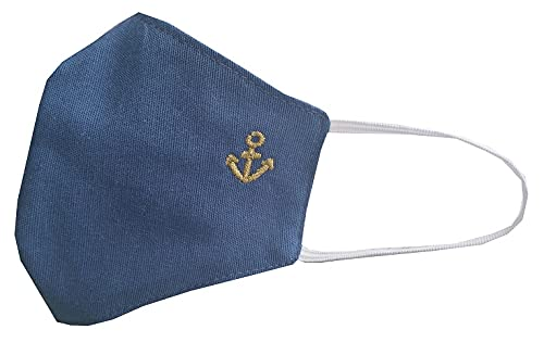 Accesorio comunión niño azul con ancla bordada en color DORADO