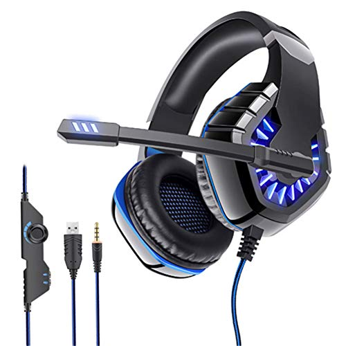 TAOXUE Auriculares Gaming Stereo con Micrófono para Mac Cascos Gaming con Bass Surround Cancelacion Ruido Y 3.5Mm Jack para PC/Móvil/Tablet,Azul