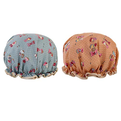 Minkissy 2 Stücke Gummiband Badekappen Wasserdicht Doppelschichten Duschhauben Wiederverwendbare Cartoon Muster Badekappe für Frauen (Blau/Rosa)