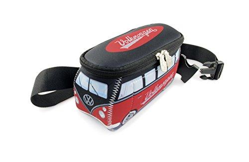 BRISA VW Collection - Volkswagen T1 Bulli Bus Hüft-Tasche, Gürtel-Tasche, Bauch-Tasche, VW-Fan-Geschenk, Schnittfest, Diebstahlsicher (Neopren/Rot/Schwarz)