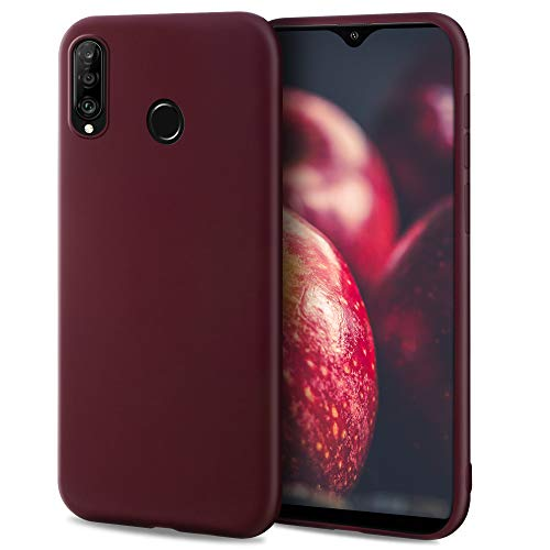 Moozy Minimalist Series Funda Silicona para Huawei P30 Lite, Vino Rojo con Acabado Mate, Cover Carcasa de TPU Suave y Fina