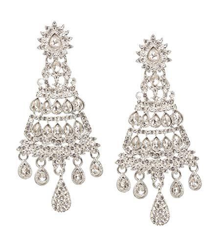 Bindhani Traditional Wedding Indian Jewellery Fashion Ethnic Bride Bridesmaid Bollywood Bridal Rhodium Silver Plated Jewelry Kundan Austrian Crystal Rhinestone Chandelier Long Earrings For Women