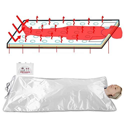 Coperta di vapore a infrarossi digitale, strumento di perdita di peso riscaldatore del corpo sauna riscaldata, anti-invecchiamento personale, riduce l'affaticamento del corpo, argento(EU-Stecker)