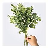 Realista 6 piezas de plástico de eucalipto Hojas artificiales Manojo Compatible with la decoración de Navidad Inicio Pequeño Faux follaje de la planta de la hoja falso dinero Hermosa ( Color : Green )
