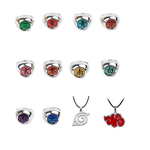 12 piezas Naruto anillos Naruto Akatsuki Cosplay miembro anillo conjunto nuevo en caja con collar