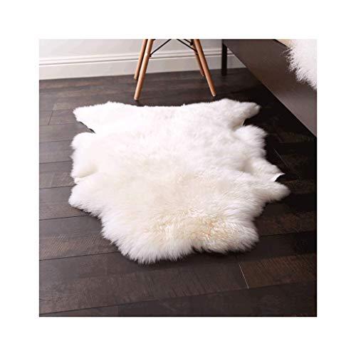 Tapis JXLBB en Laine Blanche Salon Décoration Chambre de lit de Laine Pure Entier Fourrure Super Doux Zone d'utilisation 0,77 M²