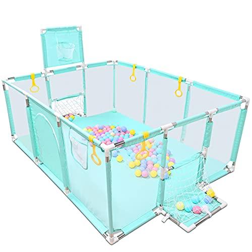 GOLDGE Parque de juegos para bebés con 50 Bolas Colores, Parque Infantil para Bebés Parque Infantil Plegable y Portátil, con Malla Transpirable Súper Suave(120*160*66cm)