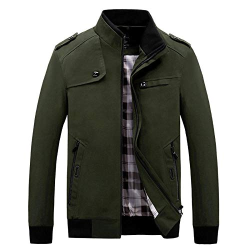 Washed Vintage Casual Biker Style Jacket Men's Jacket Casual-Army Green_XXXXL
