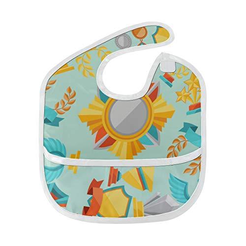 N\A Baberos impermeables Chica Moda Feliz Orgullosa Medalla Honor Gloria Babero Babys Mancha suave Alimentación del bebé Dribble Drool Baberos Eructo para bebés 6-24 meses