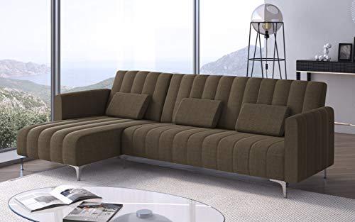 Divano chaise longue Milano 267cm, trasformabile in letto, reversibile, a righe marrone.