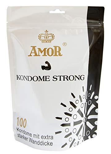"""AMOR \""""Strong\"""" 100er Pack extra stabile Markenkondome im Standbodenbeutel, für pures Gefühl, hauchzart und feucht"""