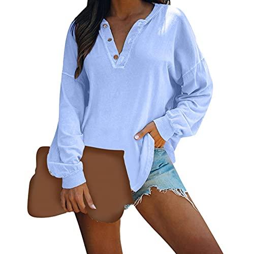 Sudaderas Mujer Sin Capucha Tops Con Botones De Manga Larga Y Cuello En V De Color SóLido Para Mujer Camisetas CláSicas De Moda Jerseys Sueltos Y Casuales Pullover Blusa