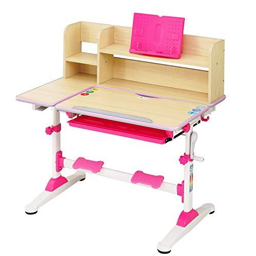 Natsen Kinderschreibtisch Schülerschreibtisch mit Bücherregal und Schublade, höhenverstellbar neigbar, Schreibtisch für Kinder (Rosa)