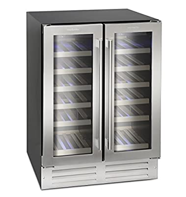 Montpellier WS38SDDX Dual Zone 38 bottle Wine Cooler in Stainless Steel by Montpellier