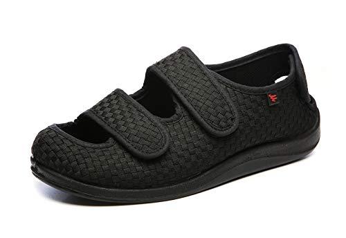 Zapatos ortopédicos diabéticos entrenadores Mujer Hombres Hallux Valgus fascitis plantar arañazos ajustable zapatillas antideslizante Edema Hinchazón Casa trabajo de las señoras en forma amplia
