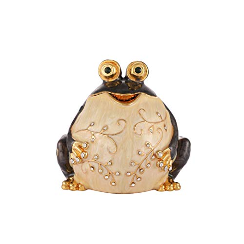 QIFU Cute Black Fat Frog Style Hand Painted Enameled Decorative Jewelry Trinket Box Hinged Unique Gift for Home Decor