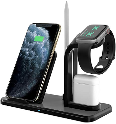 Bestrans Fast Wireless Charger 3 in 1 mit Stylus Stift Stand, Wireless Ladegerät Ladestation für AirPods Apple Watch 5/4/3/2, iPhone 11/XS/XS Max/XR/X/8/8 Plus, alle Qi-fähigen Telefone