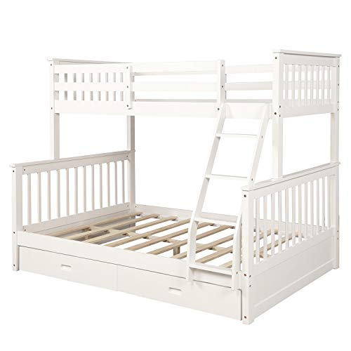 Harper&Bright Designs Twin-Over-Full Bunk Bed with Ladders and Two Storage Drawers, White
