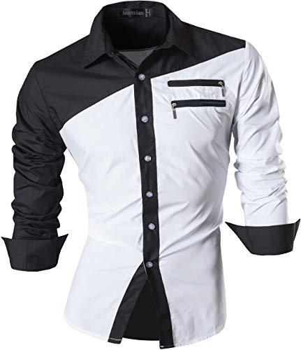 jeansian Herren Freizeit Hemden Shirt Tops Mode Langarmshirts Slim Fit Z015 White XXL