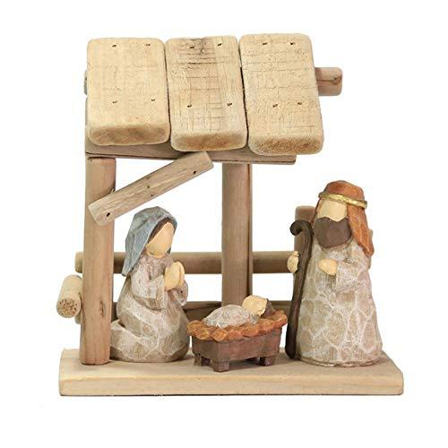 chinejaper Traditional Wooden Nativity Scene Set Christmas Xmas Decoration Crimbo Wood Festive Display For Home Traditional Nativity Scene Handcarved Christmas Tree Olive Wood Small Nativity Ornament