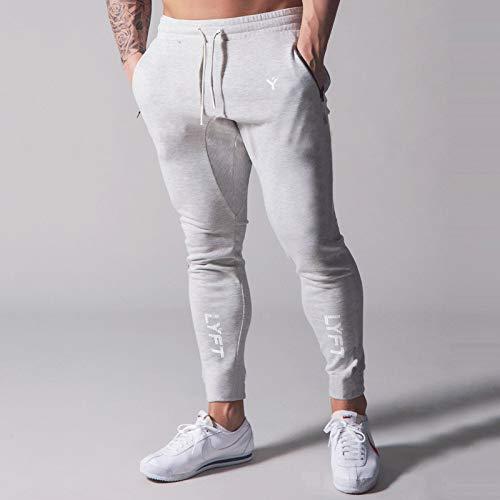 GUOYANGPAI Pantalones de chándal de Gimnasio con Estampado Informal para Hombre, Pantalones de chándal de algodón, pantalón de Correr Ajustado, Pantalones de Culturismo de Fitness,Gris,XXXL