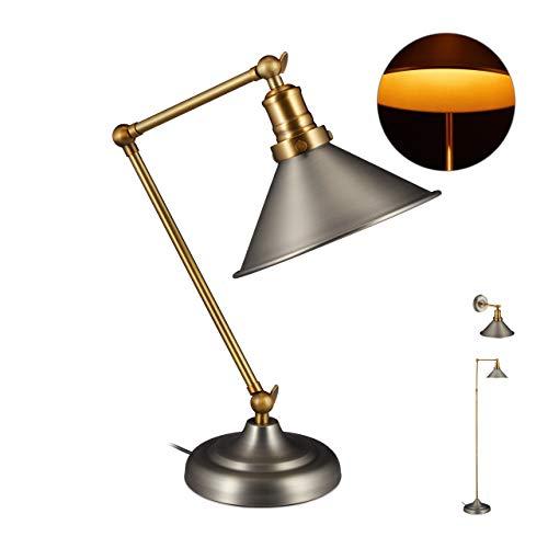 Relaxdays Industrial Lampe, Tischlampe mit verstellbarem Metallschirm, Gelenkarm, HBT 42 x 21 x 33,5 cm, messing/grau