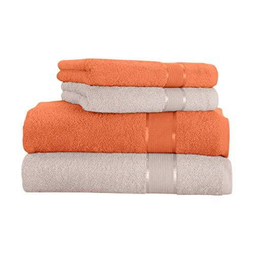 Mixibaby - Juego de toallas (4 unidades) Toalla de ducha de algodón marrón claro con combinación de colores, algodón, beige, 70 x 140 cm